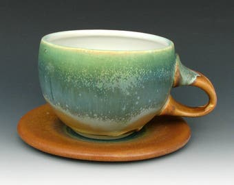 CUP AND SAUCER #6 - Cup With Saucer - Cappuccion Cup And Saucer - Ceramic Cup And Saucer - Latte Cup - Studio Pottery