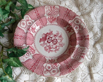 Early Red Transferware Amaryllis Soup Bowl Antique at Quilted Nest