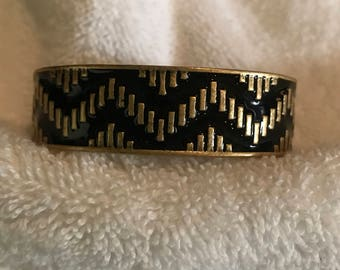 Gold Black Chevron Wave Cuff Bracelet