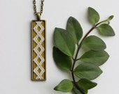 Chartreuse Necklace With Lace, Diamond Pattern, Geometric Modern Jewelry, Long Pendant Layering Necklace, Rectangle, Unique Gifts For Women