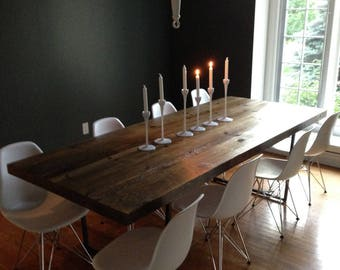 Rustic Reclaimed Wood Dining Table-choose style, size, table top thickness, and finish