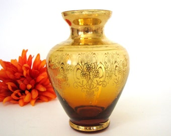 Vintage Murano Glass Vase Venezia Italy Amber Gold from AllieEtCie