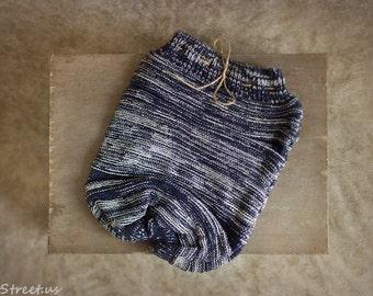 Newborn Sack, Navy Knit Cocoon, Newborn Props, Baby Boy Wrap, RTS,  Wrap, Knit Cocoon, Hand Knit Wrap, Baby Boy Props