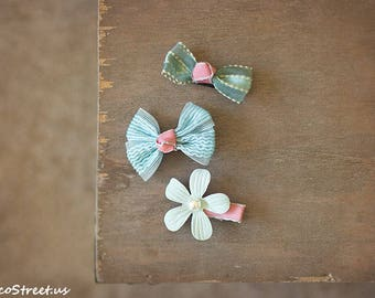 Pink and Aqua Hair Clip Set, Baby Props, Hair Accessories, Flower Mini  Bow Clips, Aligator Clip, Toddler hair Accessories