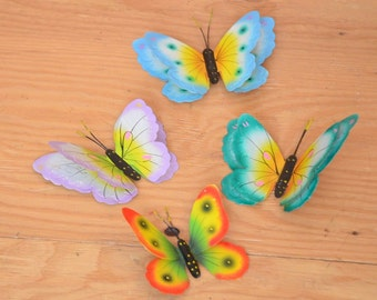 Set Of 5 Unique Mexican Ethnic Hand Made Hand Painted Winged Tin Butterfly Wall Hangings