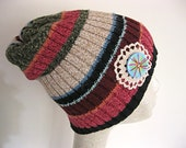 Rust brown and green slouch beanie, recycled sweater beanie, slouch hat, winter hat, cotton / acrylic knit beanie, knit hat, striped beanie