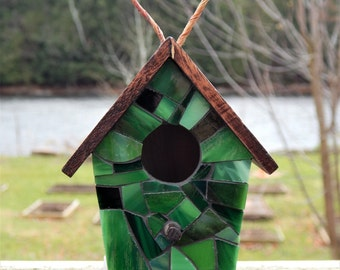Mini Stained Glass Mosaic Decorative Birdhouse Green