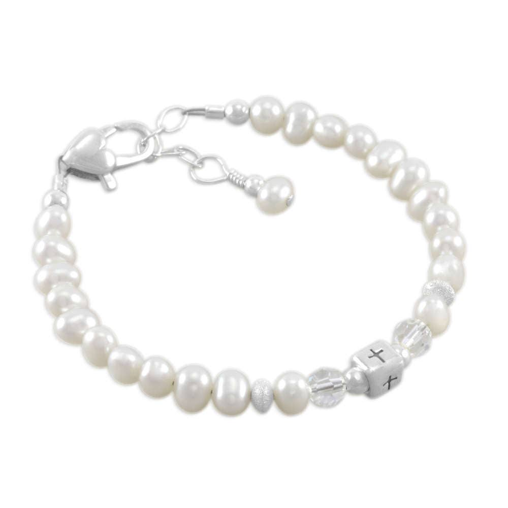 baby baptism bracelet christening pearl pearls