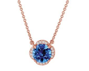 Blue Topaz Solitaire Pendant Necklace Flower 14k Rose Gold 1.92 Carat Certified Handmade