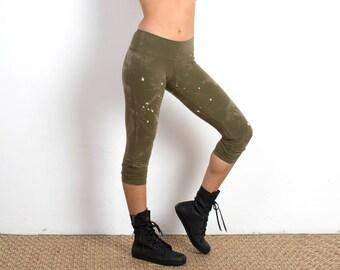 Organic Cotton Leggings - Yoga Pants - Yoga Clothing - Capri Leggings - Best Leggings - Green Leggings - Eco Friendly Leggings