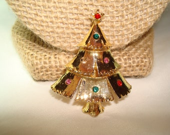 JJ Brand Golden Jeweled Christmas Tree Pin.