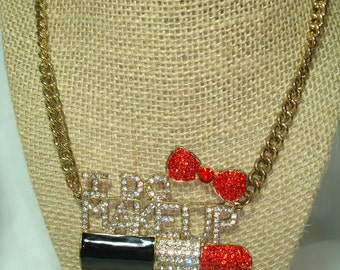 1986 I DO MAKEUP Rhinestone Lipstick Bling Necklace.