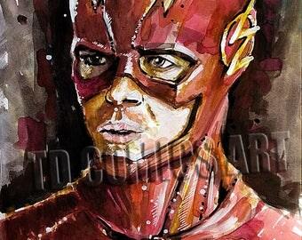 The Flash prints watercolors painting Flash TV show comics art prints, dc universe art, dc comics prints, posters comics art, art collection