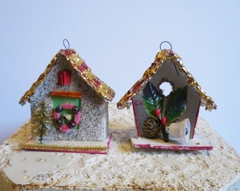 2 Vintage Putz House Christmas ornaments Gold shingle roof wreath holly bells light up miniature