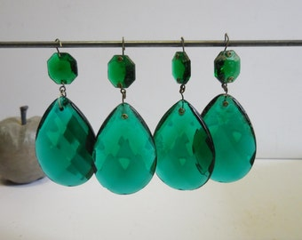 4 vintage Crystal Prisms blue green Glass teardrop Double faceted Chandelier Light lamp supplies