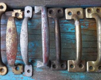 7 vintage handles variety aged silver brass door chest drawer handle pulls architectural salvage restoration hardware supplies