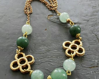Celtic Clover - long vintage gold metalwork chain, wire wrapped green jade stone beading necklace