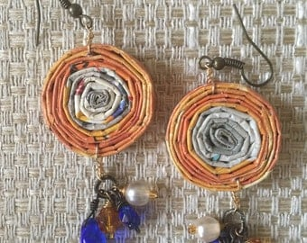 n. 61 ORANGE n LAPIS ROUND coiled recycled paper pierced earrings with glass beads measure 1.5""