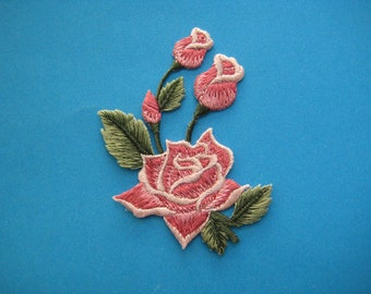 Iron-On embroidered Patch Pink Roses 3.25 inch