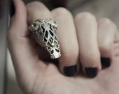 Aged Silver & Brass Armored Claw - Ring - Witch - Gothic - Visual Kei - Fantasy - Statement - Unique - Spring - Mothers Day - Prom - March
