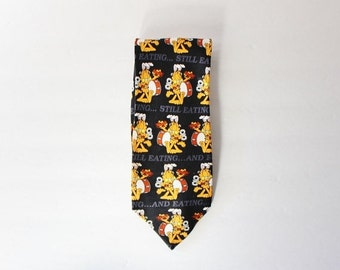 50% half off sale // Vintage 90s Garfield Still Eating Funny Necktie - black, orange, Paws Addiction