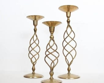 60% off sale // Vintage 70s Instant Collection 3 Tall Large Brass Spindle Spiral Candlestick Holders Lot, wedding decor, home decor