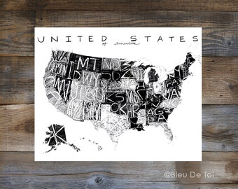 "ON SALE Hand lettered map, United Stated Map, US Map, large wall map, 16x20"", explorer map print, home decor, road trip theme"