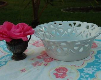 VINTAGE WHITE ITALIAN Bowl / Handmade Italian Fruit Bowl / Bread Bowl / Ceramic Flower Detail / Cottage Style at Retro Daisy Girl
