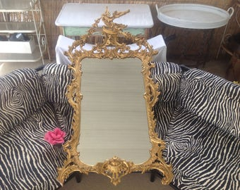 """GILTWOOD CARVED MIRROR / 63"""" Tall George lii Style Giltwood Hand Carved Mirror / Phoenix Bird Crest / Chippendale Rococo at Retro Daisy Girl"""