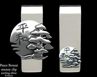 Bonsai, Sun with Peace Japanese Kanji Money Clip Sterling Silver