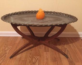 MOROCCAN BRASS TRAY Table/Boho Decor/Folding Table Base/