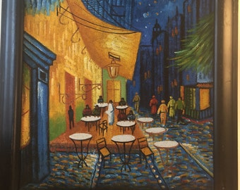 CITY CAFE ORIGINAL Oil on Board, Colorful Street Cafe, Signed Modern Art, Signed Abstract Art at Modern Logic