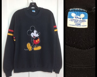1980's Mickey Mouse Black striped pullover Sweatshirt with fuzzy Flock print size Large Disney Character Fashions made in USA #3