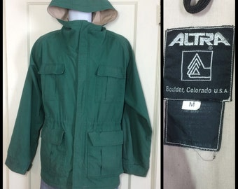 1980's Altra from Boulder Colorado forest green Mountain Parka hoody size Medium cotton nylon made in USA double Talon zipper hoodie