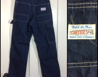 1970s Carter's Denim Carpenter Painters Pants size 27x30 Workwear Union Made dark wash blue jean skinny barely used condition