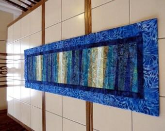 Quilted Batik table runner art quilt wall hanging blues aqua