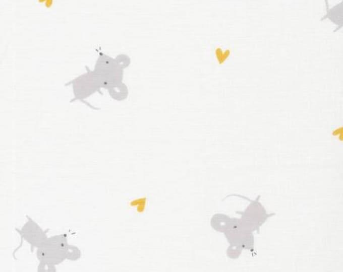 Organic Cotton Swaddle Fabric - Cloud9 Tout Petit Swaddle - Little Mice White