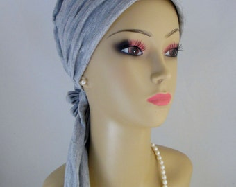 "Pewter Gray Scarf Turban Soft Jersey Extra Long 17"" Ties, Volumizer Chemo Headwear, jersey Knit Cancer Patient Hat, Tichel & Mitpachat"