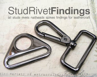 2sets ZINC Gunmetal Push Gate Swivel Snap Hook Clasps with Triangle Rings