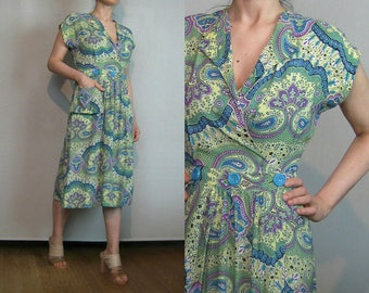 30s 40s TRUE WRAP DAMASK vtg Paisley Green Lavender Purple Cream Turquoise Rayon Midi Dress with Pocket xs/s Small s/m 1930s 1940s
