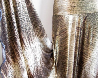 """Ladies' Golden Glittery Animal Print Polyester Spandex Stretch Knit Jersey Maxi Skirt for Missionary, Travel or Leisure, M/L, 38""""long"""