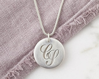 Personalised Handmade Monogram Necklace - Secret Message Silver Initial Necklace/Letter Necklace/Personalized Jewelry, perfect gift for her