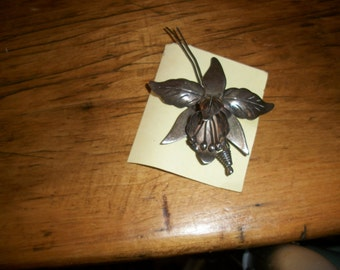 Orchid Pin--9.25 Sliver--Mexican--Taxco--1940s