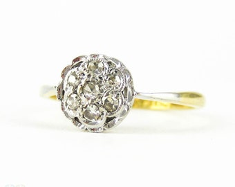 Art Deco Diamond Cluster Ring, Vintage Circle Design Pave Set Flower Ring. Circa 1920s, 18ct PLAT.