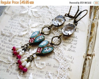 On Sale Rustic Roman Heart, Vintage 1940s Micro Mosaic Hearts,Vintage Crystal Jewel,Genuine Rubies & Pearls Assemblage Earrings,Hollywood Hi