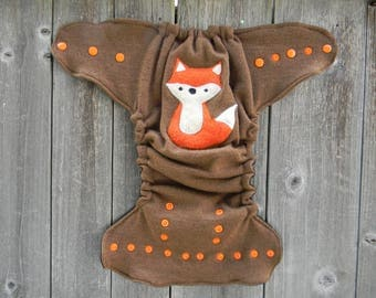 Upcycled Merino Wool Nappy Cover Diaper Wrap Cloth Diaper Cover One Size Fits All Camel With Fox Applique / Camel/Brown