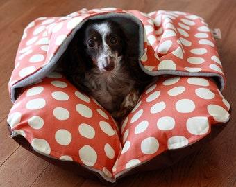 Dog Bed, Dachshund, Dog Burrow Bed, Bun Bed, Pocket Bed - TheOminousCloud - Big Orange Dots, Bunbed, Hot Dog Bed