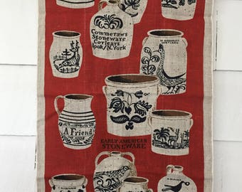 Early American Stoneware Linen Tea Towel, Deep Red and Navy Blue, Birds Deer Flowers, Collectible Pottery Display Prop, Unused Never Used