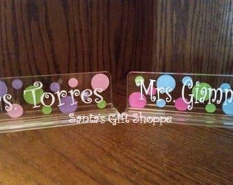 Teacher's Appreciation - Name Desk Plate - teachers name plate - desk name plate - acrylic name desk plate - Christmas gift