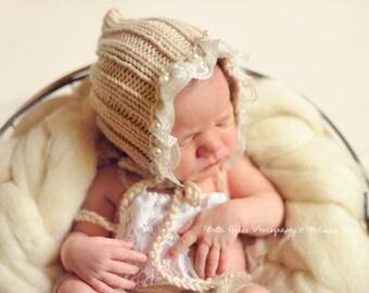 Beige Lace Pearl Cotton Knit Baby Bonnet Newborn Photography Prop